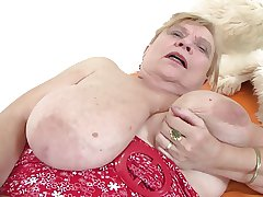 Very old granny with big tits with the addition of flimsy pussy