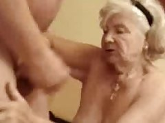 Very elderly granny finally drinks my cum