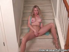 American milf Eva Griffin fingers will not hear of nyloned wet pussy