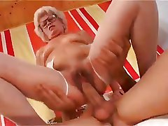 Sexy Abrupt Haired Granny With Muted Pussy