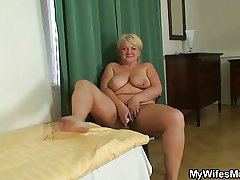 Masturbating mother gets washout and screwed