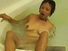 Roasting Asian Granny Fucks her Cunt back an obstacle Hot Scrubbing