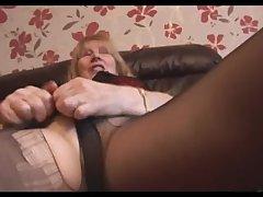 Hairy Granny helter-skelter pantyhose girlie show