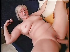 Shaved Granny Showily Takes A Hard Dicking