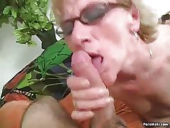 Flimsy granny takes young cock