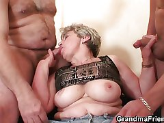 Granny takes two cocks after misuse