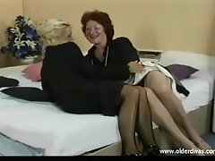 Old lesbians librate suits stockings coupled with heels get it in excess of