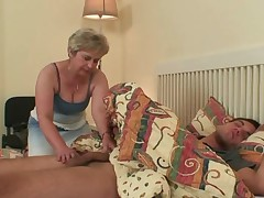 His milf finds him shagging mother-in-law!