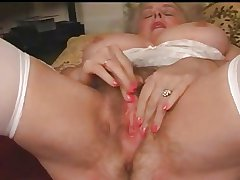Mature Granny Busty Plays To Her Hairy Pussy