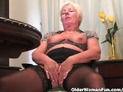 Chubby Granny There Black Stockings Masturbates Beside Dildo