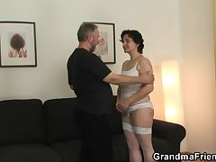 Old bitch takes yoke cocks after pussy toying