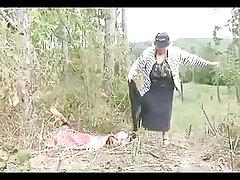 Heavy Tit Granny Fucks in burnish apply Woods