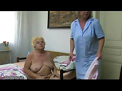 Grown up woman using dildo on fat granny