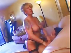 Tattooed Blonde granny fucked