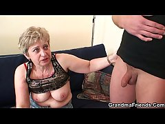 Roasting granny takes two cocks at in the future