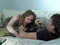 Leila and Rolf full-grown pantyhose action