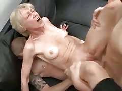 Horny granny increased by two males