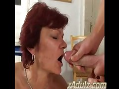 Skinny Age-old Redhead Granny Fianc� Old bean in the Kitchen