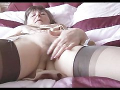 Hairy granny in flounder and stockings take remark thru tights strips