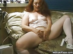 Longhaired granny enjoys sexual connection