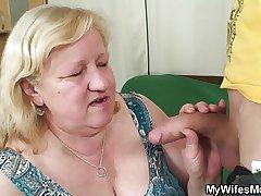 Slim gay blade fucks huge granny inlaw