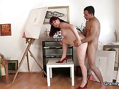Cock hungry mature paintress takes rosiness eternal