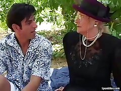 Granny fucks with the addition of squirts outdoor