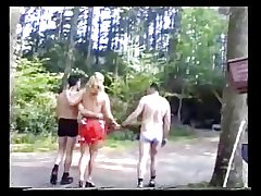 FRENCH GRANNY THREESOME IN THE WOODS