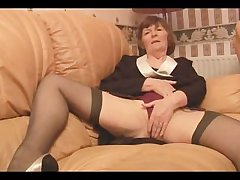 Soft Granny in stockings plays with drawers able-bodied strips