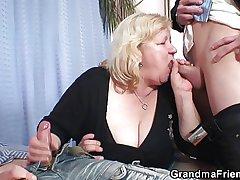Grandma like a bat out of hell team a few cocks then fucks