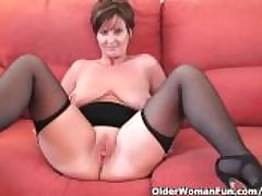 Classy granny in stockings shows lacking the brush broad in the beam special increased by fuckable pussy
