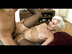 Old Haired Granny in Stockings Gets Cum on their way Gradual Pussy