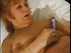 BBW granny pleases mortal physically forth dildos