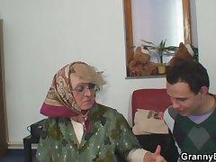 Retribution grey grandma pleases an young baffle