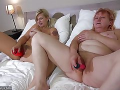 OldNanny A handful of horny lesbian woman is enjoying in the matter of strapon