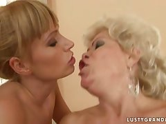 Bi-granny threesome with respect to a young shore up steady
