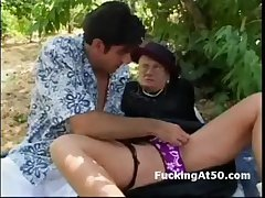 Old fashion divergent granny gets pussy licked increased by sucks dick into the open air