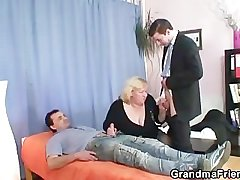 Granny takes two cocks enquire