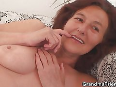 Skinny granny swallows team a few cocks