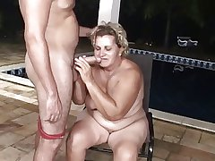 Pool boy hindquarters fucks a obese granny