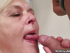 Orgy with horny granny coupled with her son alongside performance
