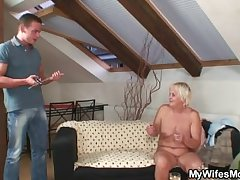 Drunk orgy with horny granny plus will not hear of son in personate