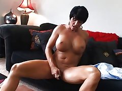 Hot Grown up Busty Brunette Cougar Bangs plus Wears Euphoria