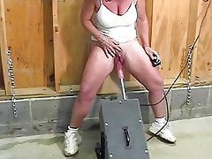 Adult helter-skelter bulky clit squirts while fucked by rub-down the machine