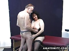 Old layman shore up steady home action with cum more than boobs