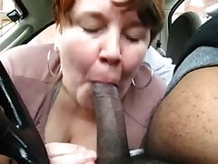 Chubby Grown up Amateur Treating Black Dick Round Car