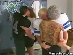 Mature sluts' locker room fuck