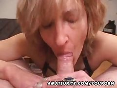 Matured inexpert wife gives pill popper with cum far mouth
