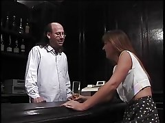 Matured brunette sucks muted bartenders hard pole then gets fucked
