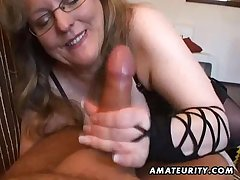 Gaffer lay wife handjob plus blowjob in cum in mouth